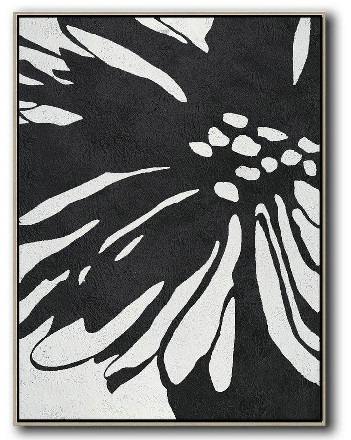 Extra Large Acrylic Painting On Canvas,Hand-Painted Black And White Minimal Painting On Canvas,Extra Large Artwork